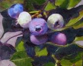 Blueberries, 6x6 Original Oil Painting
