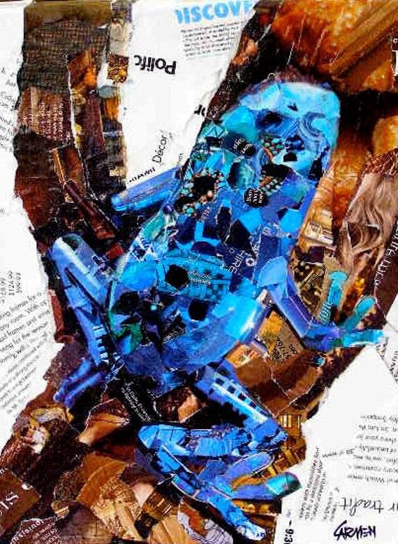 Blue Frog, 9x12 Original Collage