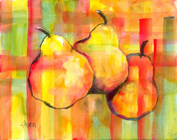 Plaid Pears, 8x10 Original Mixed Media Painting