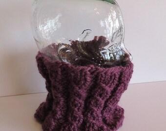 Purple Hand Knit Neck Warmer Cowl
