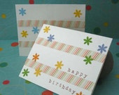 HAPPY BIRTHDAY cards set of two,Hand decorated and stamped