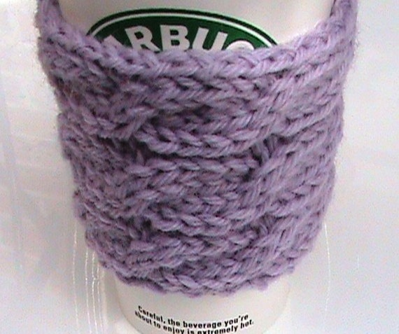 Knitting Pattern Cup Holder : No Burning Cup Holder Knit Coffee Cup Holder Knit by ...