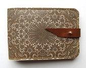 Leather card case/ Oyster card holder - Antique lace design