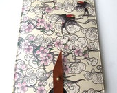 Leather kindle 2 and 3 case - Cherry blossom and Swallows design
