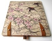 Leather iPad (1 and 2 ) case - Cherry Blossom