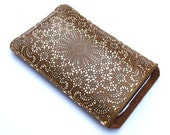 Leather iPhone case (All) iTouch (All) sleeve case - Antique lace design
