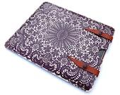 Leather New iPad case - Deep Purple lace design