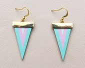 Leather Earrings - Mint and Pink Chevron