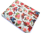 Leather New iPad case - Birds and Roses design