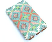 Leather Samsung Galaxy S2 / S3 / Note case - Aztec in Mint and Coral Pink