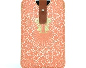 Leather iPhone case - Delicious Peach lace