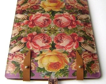 Leather iPad or kindle dx Case- Victorian Roses Design