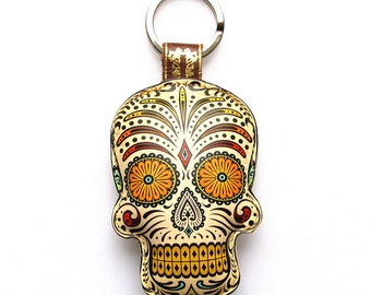 Special Edition Leather keychain / key ring / bag charm - Sugar skull design