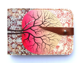 Leather card case, Oyster card holder - Peach tree design