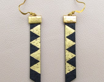 Leather Earrings - Black with Gold Triangles