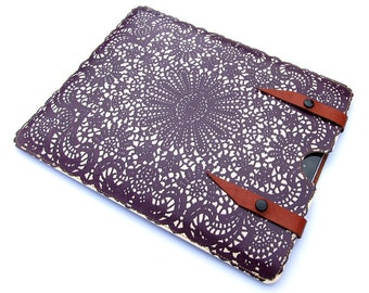 Leather Case for iPad Air, iPad Air 2, iPad 4, iPad Mini, Kindle, Paperwhite - Deep Purple Lace