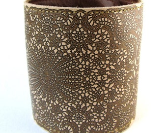 Leather cuff / wallet wristband - Antique Lace design