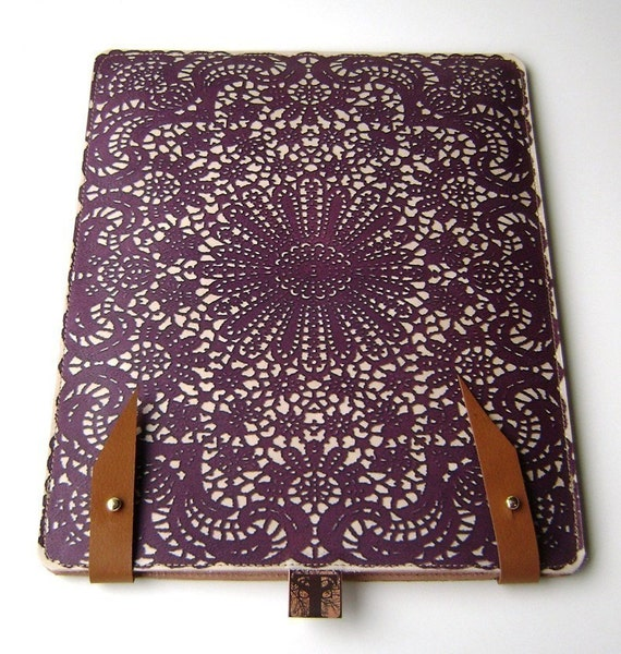 Leather iPad case  / kindle (2or3) case - purple lace design