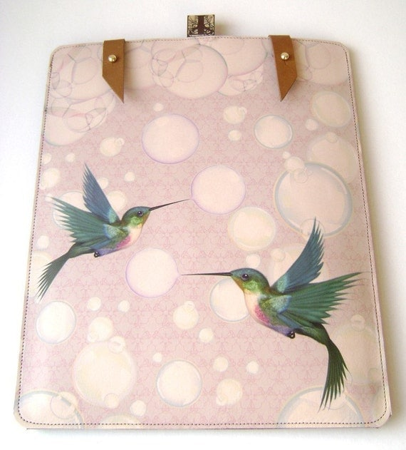 Handmade Leather iPad (1 and 2 ) case- Hummingbirds and bubbles design