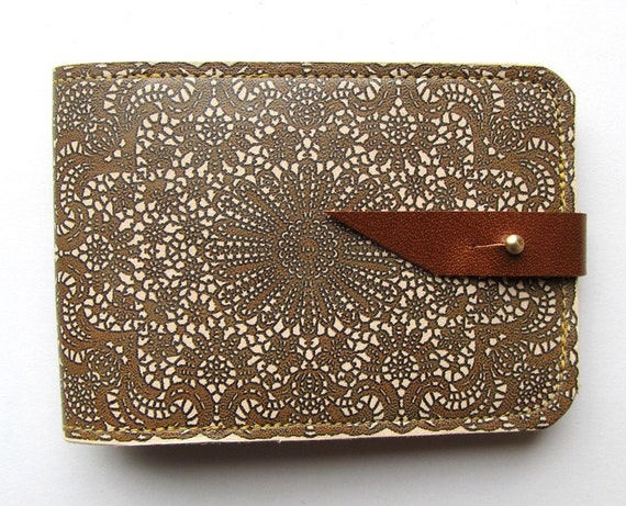 Leather card case/ Oyster card holder - Antique lace design