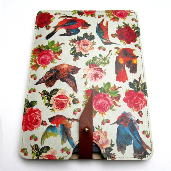 Leather kindle 2 and 3 case - Birds & Roses