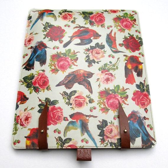 Leather iPad case - Birds & Roses design
