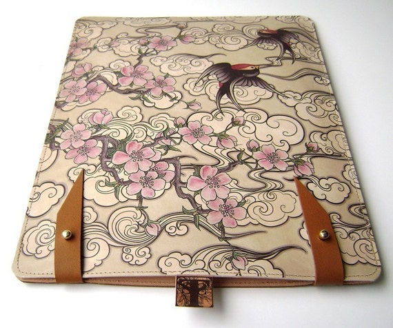 Leather iPad case (1 and 2 )  - Cherry Blossom