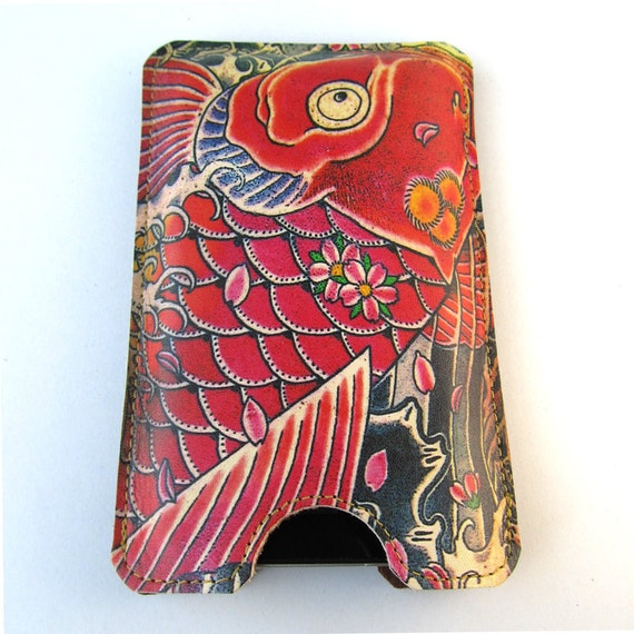 Leather iPhone (All) iTouch (All) case - Tattoo Koi design, with card slot