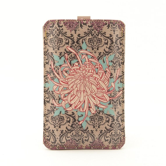 Leather iPhone/iTouch/HTC (Desire/Mozart) case - Chrysanthemum
