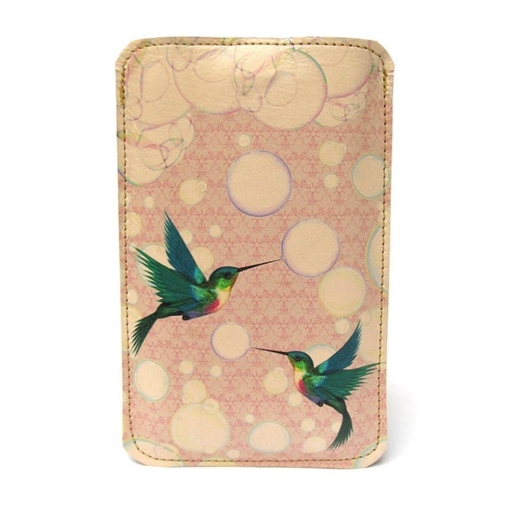 Leather iPhone (All) iTouch (All) case - Hummingbirds & bubbles design