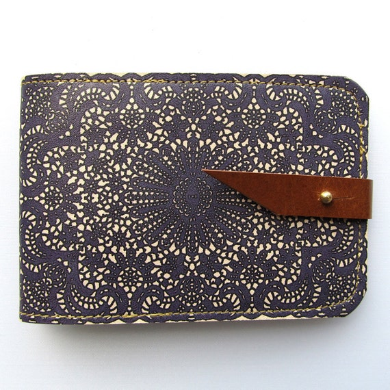 Leather card case/ Oyster card holder - Purple lace design