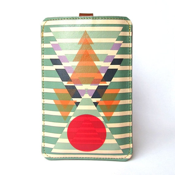 Leather iPhone/iTouch/HTC (desire/mozart)  Case - Aztec Geometric design