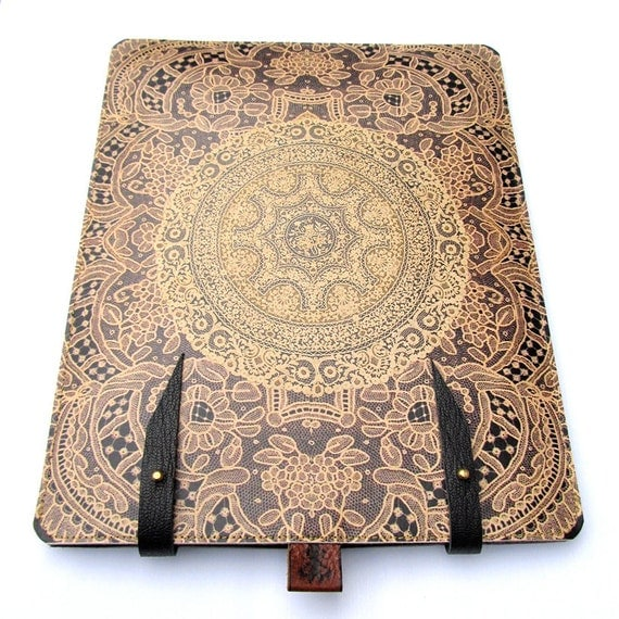iPad case  Leather (1 and 2 )  - Elegant antique Lace design