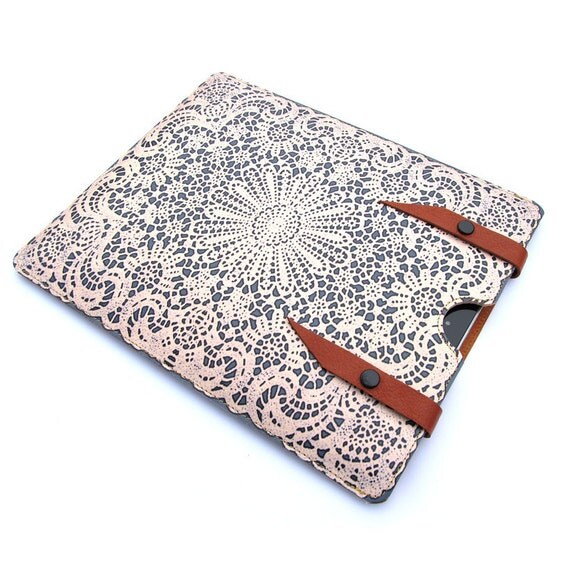 Leather New iPad case Pebble Grey ,white lace design