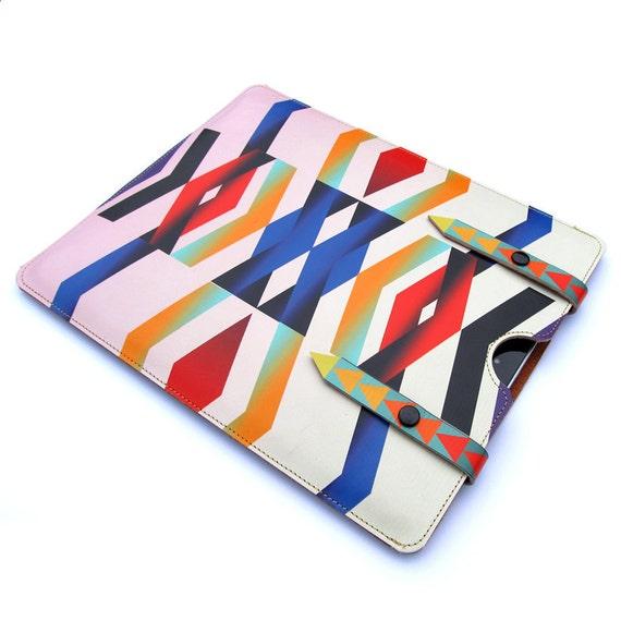 Leather iPad case iPad 3 / iPad 2 - Chevron Navajo
