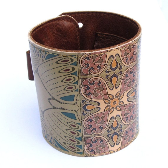 Leather cuff / wallet wristband - New Art Nouveau