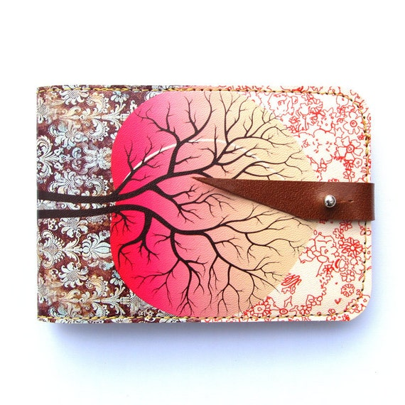 Leather card case/ Oyster card holder - Peach tree design