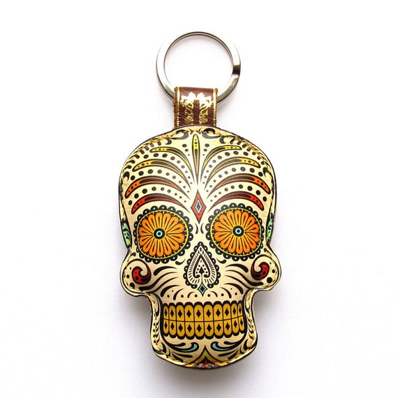 Special Edition Leather keychain / key ring / bag charm - Sugar skull design