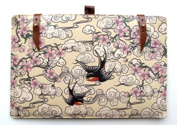 Leather 11 inch MacBook Air case - Cherry blossom and Swallows design