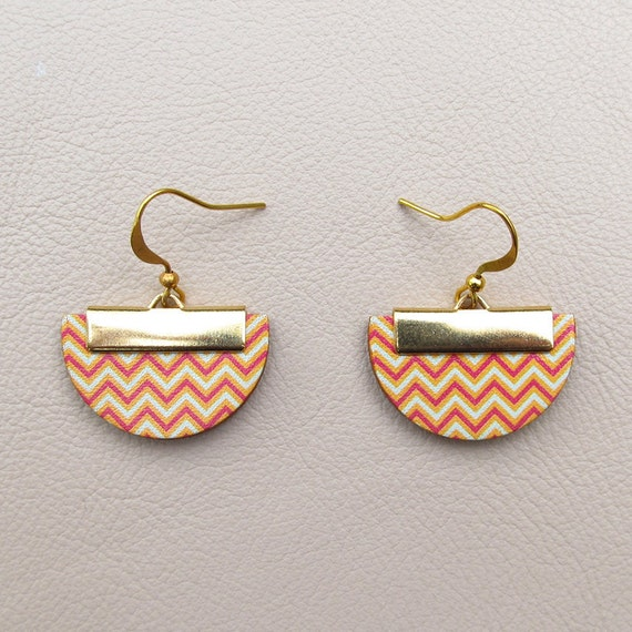 Leather Earrings - Orange, Red and Mint Chevron