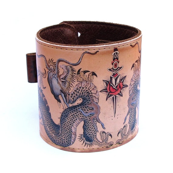 Leather cuff,  wallet wristband - Dragons tattoo