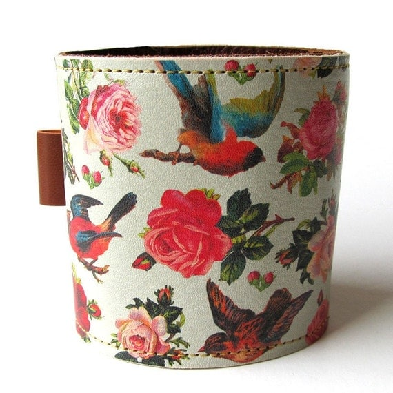 Leather cuff/ wallet wristband - Birds & Roses design