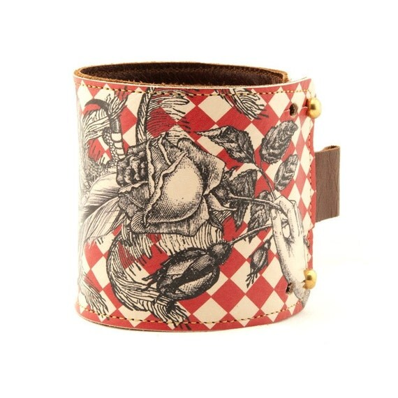Leather cuff, wallet wristband - Red check