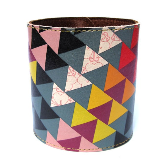 Leather cuff/ wallet wristband - Geometric Triangles design