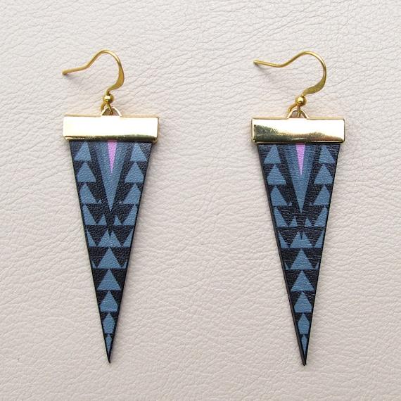 Leather Earrings - Geometric Spike