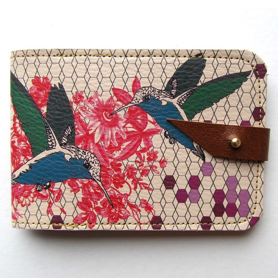 Leather card case/ Oyster card holder - Hummingbirds and flowers