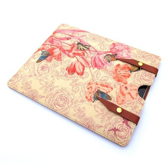 Leather iPad  case - Springtime