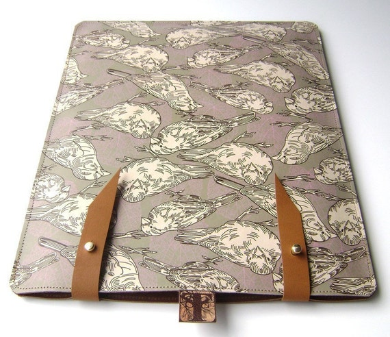 Leather iPad case - Sparrow and Leaf