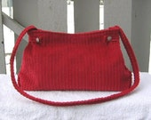 Roseann's Creations / Red Corduroy purse. something entirely different