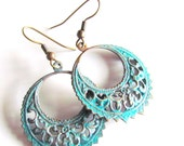 SALE Fair weathered...oxidized brass filigree dangles